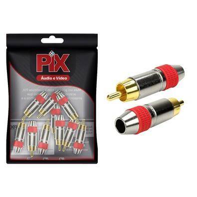 Plug Pix RCA Style, Ponta Gold 6mm, Vermelho - 062-6350