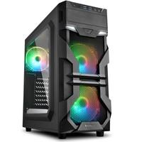 Gabinete Gamer Sharkoon VG7-W, Mid Tower, RGB, 3 Coolers, Lateral em Acrílico, Preto