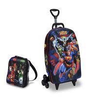 Mochila Escolar 3D com Rodinhas e Lancheira MaxToy  Liga Da Justiça Superman