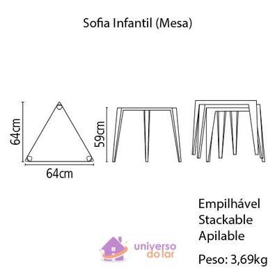 Mesa Tramontina Sofia Infantil em Polipropileno e Fibra de Vidro Vermelho Tramontina