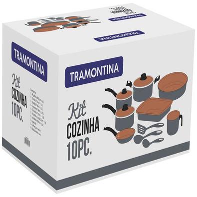 Jogo de Panelas Tramontina Turim Alumínio Revestimento Antiaderente Cinza Utensílios de Nylon 10 Pçs Tramontina