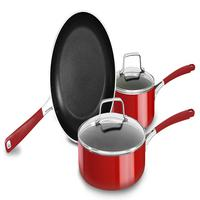 Conjunto de 3 Panelas em Alumínio para Indução KitchenAid Vermelho