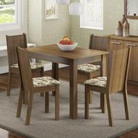 Conjunto Sala de Jantar, Madesa, Rute, Mesa Tampo de Madeira com 4 Cadeiras Rustic/Lírio Bege