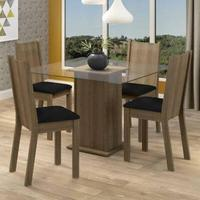 Conjunto Sala de Jantar Maya Madesa, Mesa Tampo de Vidro, 4 Cadeiras, Rustic/Sintético/Preto