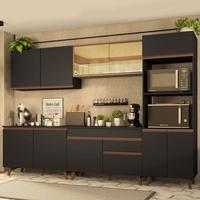 Cozinha Completa Madesa Reims 310001 com Armário e Balcão Preto/Rustic Cor:Preto/Rustic