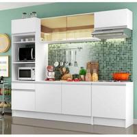 Cozinha Completa Madesa Diamante com Armário, Balcão e Tampo Branco Cor:Branco