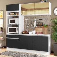 Cozinha Compacta Madesa Diamante com Armário, Balcão e Tampo Branco/Preto Cor:Branco/Preto