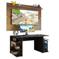 Mesa Gamer Madesa 9409 e Painel para TV até 65 Polegadas, Preto/Rustic