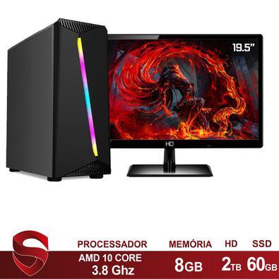 Computador PC Gamer Completo AMD 10-Core, CPU 3.8Ghz 8GB, Radeon R5 2GB, SSD e HD 2TB Skill Monitor HDMI LED 19.5