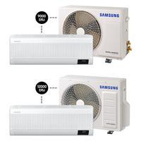 Kit Ar Condicionado Samsung Digital Inverter, Wind-Free Plus, 9.000 BTU/h + 12.000 BTU/h, Quente e Frio, Branco, 220V