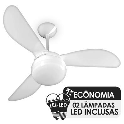 Ventilador de Teto Ventisol Fenix, 3 Pás, Cv3, 02 Lâmpadas, Led Inclusas, Branco - 220V