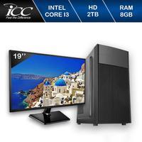 Computador Desktop ICC IV2383DWM19 Intel Core I3 3.20 ghz 8GB HD 2TB DVDRW HDMI FULL HD Monitor LED 19,5 Windows 10