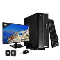 Mini Computador ICC I3 8GB HD 120GB SSD DVDRW Kit Multimídia Monitor 15