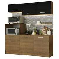 Cozinha Compacta Madesa Onix com Armário e Balcão, Rústico/Preto