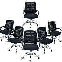 Conjunto Bela Com 6 Cadeiras Giratória Diretor Viena Telada