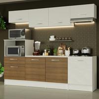 Cozinha Completa Madesa Onix 240003 com Armario e Balcão Branco/Rustic 099B Cor:Branco/Branco/Rustic