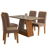 Conjunto De Mesa Com 4 Cadeiras Para Sala De Jantar 130x80 C/molduraalana/milena-cimol - Savana / Off White / Pluma