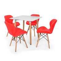 Kit Mesa Jantar Eiffel 80x80 Branca + 04 Cadeiras Slim - Vermelha