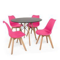 Kit Mesa Jantar Eiffel 90cm Preta + 04 Cadeiras Leda - Rosa