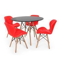 Kit Mesa Jantar Eiffel 120cm Preta + 04 Cadeiras Slim - Vermelha