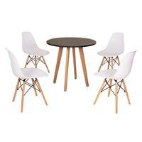 Mesa Laura 80cm Preta + 4 Cadeiras Eames Eiffel - Branca
