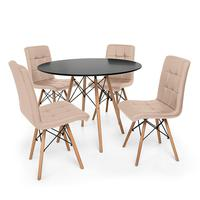Kit Mesa Jantar Eiffel 100cm Preta + 04 Cadeiras Gomos - Nude