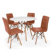 Kit Mesa Jantar Eiffel 90cm Branca + 04 Cadeiras Gomos - Marrom