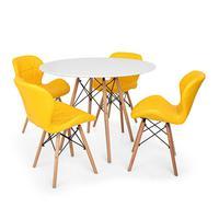 Kit Mesa Jantar Eiffel 120cm Branca + 04 Cadeiras Slim - Amarela