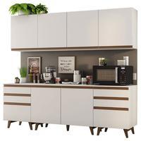 Cozinha Completa Madesa Reims 240002 com Armário e Balcão Branco Cor:Branco