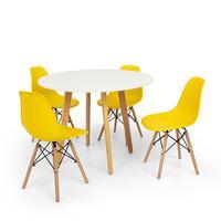Conjunto Mesa De Jantar Laura 100cm Branca Com 4 Cadeiras Charles Eames - Amarela