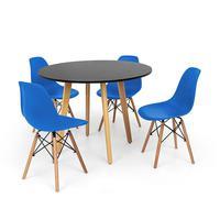 Conjunto Mesa De Jantar Laura 100cm Preta Com 4 Cadeiras Charles Eames - Azul