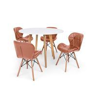 Conjunto Mesa De Jantar Laura 100cm Branca Com 4 Cadeiras Eames Eiffel Slim - Marrom