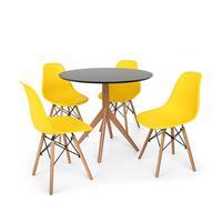 Conjunto Mesa De Jantar Maitê 80cm Preta Com 4 Cadeiras Charles Eames - Amarela