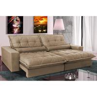 Sofa Retrátil E Reclinável 2,72m Com Molas Ensacadas Cama Inbox Soft Tecido Suede Castor