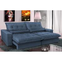 Sofa Retrátil E Reclinável 2,92m Com Molas Ensacadas Cama Inbox Soft Tecido Suede Azul