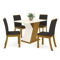 Conjunto Sala De Jantar Mesa 120cm Tampo Mdf 4 Cadeiras Kesha Casa 812