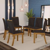 Conjunto 6 Cadeiras Sala De Jantar Kesha Casa 812