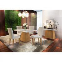 Conjunto Sala De Jantar Luna 120 Mdf Com 4 Cadeiras Grécia