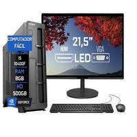 """Computador Fácil Slim Completo Intel Core I5 10400F Décima Geração, 8GB DDR4, HD 500GB, Monitor 21.5"""" Led, HDMI"""