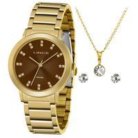 Kit Relógio Lince Feminino Dourado Lrgh142l Ky30n1kx