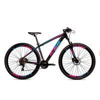 Bicicleta Alumínio Ksw Shimano Altus 24 Vel Freio Hidráulico E Cassete Krw19 - Preto/azul E Rosa - 15.5´´