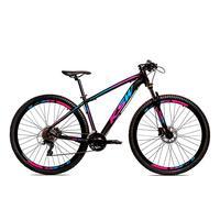 Bicicleta Alumínio Ksw Shimano Altus 24 Vel Freio Hidráulico E Suspensão Com Trava Krw18 - Preto/azul E Rosa - 19´´