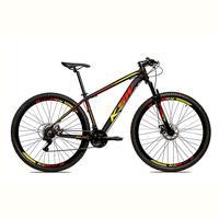 Bicicleta Alumínio Aro 29 Ksw 24 Velocidades Freio A Disco Krw16 - Preto/amarelo E Vermelho - 19´´