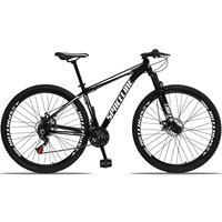 Bicicleta Aro 29 Spaceline Orion 21v Suspensão Freio A Disco - Preto/branco - 21´´ - 21´´
