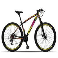 Bicicleta Aro 29 Gt Sprint Volcon 21v Suspensão, Freio Disco - Preto/amarelo E Rosa - 19''