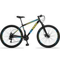 Bicicleta Aro 29 Gt Sprint Mx1. 21v Freio Disco E Suspensão - Preto/azul E Amarelo - 19''