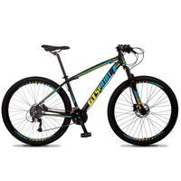 Bicicleta Aro 29 Gt Sprint Volcon 21v Suspensão, Freio Disco - Preto/azul E Amarelo - 15''