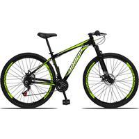Bicicleta Aro 29 Dropp Aluminum 21v Suspensão, Freio A Disco - Preto/amarelo E Branco - 21