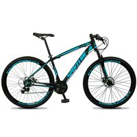 Bicicleta Aro 29 Spaceline Vega 21v Suspensão E Freio Disco - Preto/azul - 19´´ - 19´´
