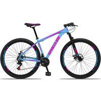 Bicicleta Aro 29 Spaceline Orion 21v Suspensão Freio A Disco - Azul/rosa - 15''